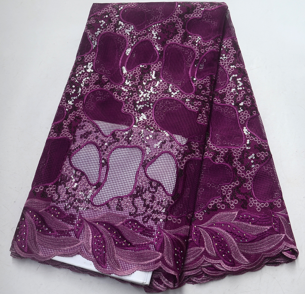 African Lace Fabric 2019 High Quality Lace purple Nigerian Tissu Africain Guipure Embroidery French Tulle Lace FabricAfrican Lace Fabric 2019 High Quality Lace purple Nigerian Tissu Africain Guipure Embroidery French Tulle Lace Fabric