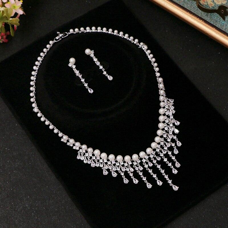 Cubique zircone ronde perle perceuse Noble mariée collier pendentif boucles d'oreilles bijoux strass accessoires de mariage pour les femmes - 2