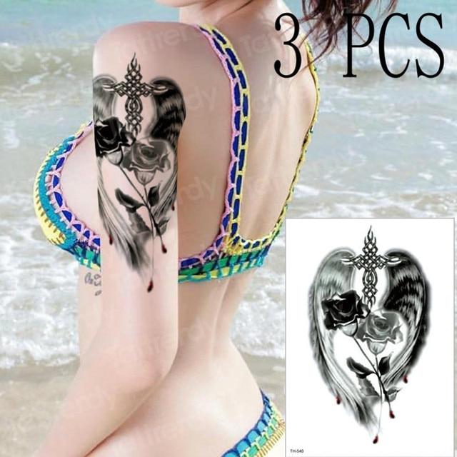da4336242 3pcs/lot temporary tattoo mandala Black rose angel wings cross henna tattoo  sticker sexy girls