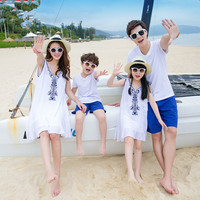 2017 Summer Family Matching Outfits Mother And Daughter Dresses Dad Son Clothing Set Short Sleeve T