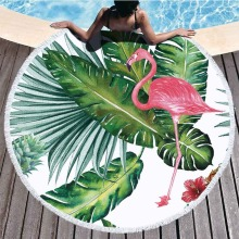 Flamingo Pattern Microfiber Round Beach Towel Tippet With Tassel Bohemian Tapestry Large Beach Towels Blanket Picnic Yoga Mat