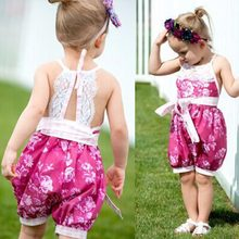 Puseky 2017 Summer Baby Girls Clothing Jumpsuits Rompers Princess Party Lace Floral Romper Playsuit Jumpsuit Girl Clothes 0-24M(China)