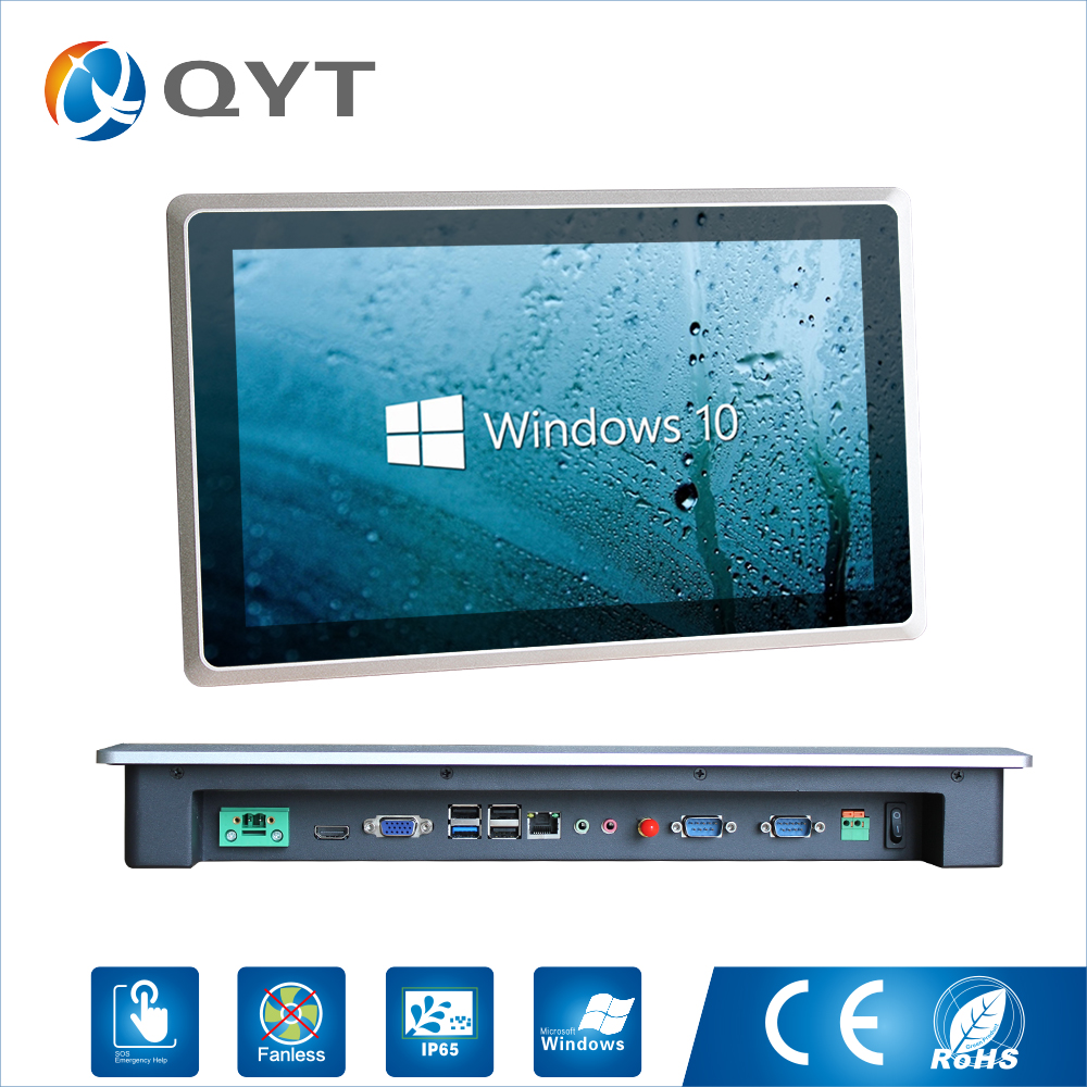 "15.6"" Widescreen capacitive touch screen Panel pc 4GB RAM 32G SSD industrial mini embedded Celeron 3855U win7 win8 win10"
