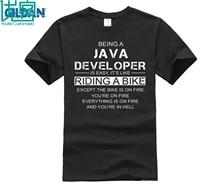 Being A Java Developer Is Like Riding Biker Team Shirts 2017 Order Tee Shirt Online Cotton Simple T-Shirt Website No Pilling