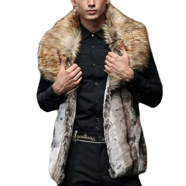 Cuello de piel grande Mens Chaqueta Sin Mangas Con Capucha Chaleco de Piel de Moda moda 2016 hombres calientes de invierno de piel falsa outwear masculino clothing abrigos
