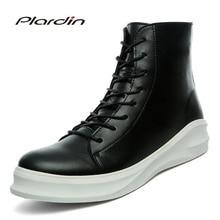 Plardin/2017 Для мужчин зимние Пояса из натуральной кожи модные лаконичные молнии скейтборд обувь Модная обувь на платформе Для мужчин туфли на шнуровке высокие сапоги