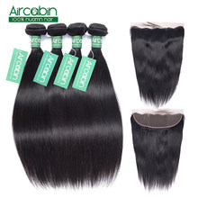 Brazilian Straight Hair Bundles With Frontal Human Hair 4 Bundles With Frontal Closure Non-Remy Lace Frontal With Bundles(China)