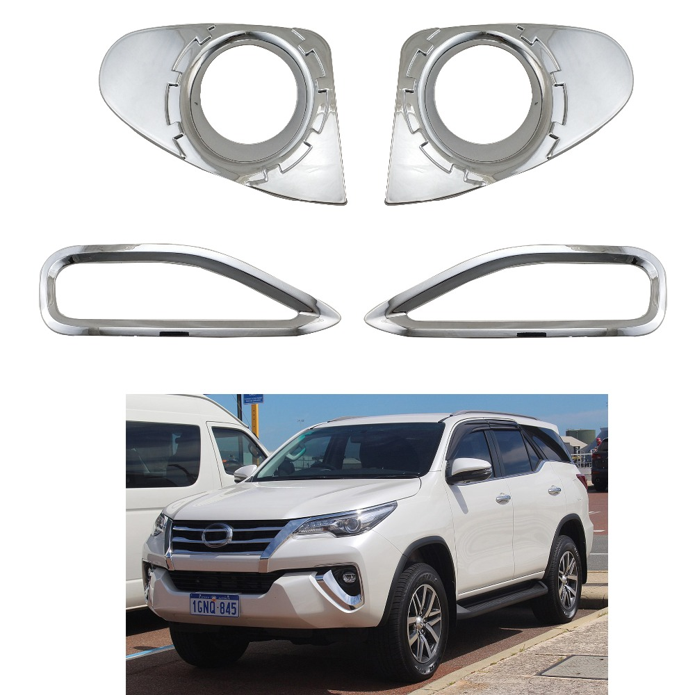 For Toyota Fortuner SUV 2018 Chrome Exterior Front Fog light lamp Cover Trim