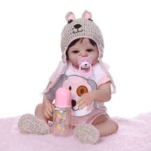 New 48cm Reborn Doll Realistic Full Silicone Newborn Babies Toy Girl Princess Clothes Hat Pacifier Lifelike Premium Quality