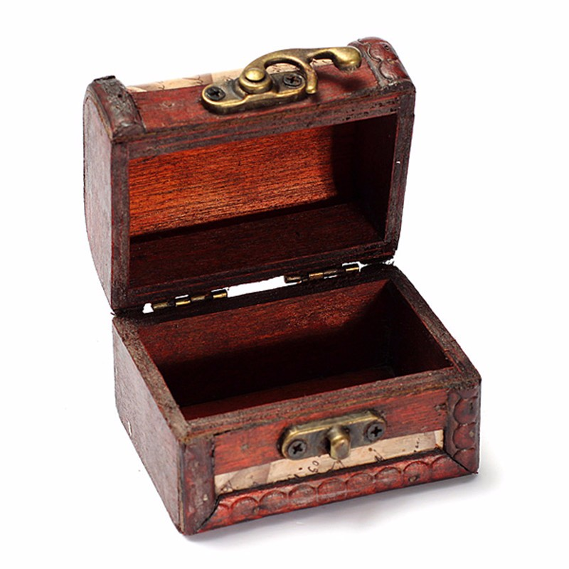 Mini Random Pattern Vintage Storage Box Western Map Small Metal Locking Jewelry Treasure Chest Handmade Wood Boxes