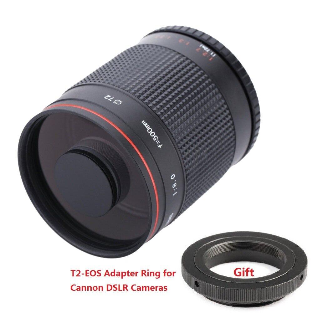 500mm f8.0 caméra téléobjectif manuel miroir objectif + T2 monture adaptateur pour Nikon Canon Pentax Sony A7 A7RII A6300 appareils photo reflex numériques