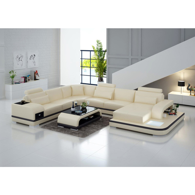 Home furniture sets modern style living room daybed couch leather ...