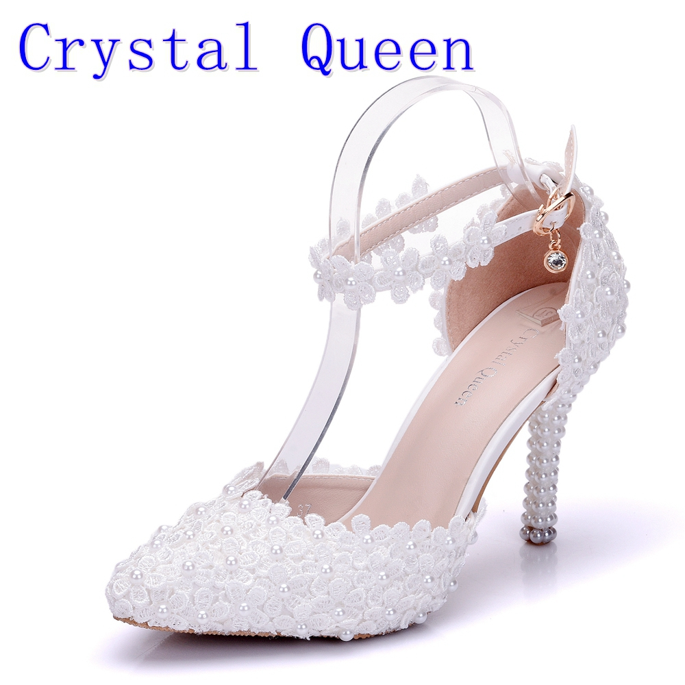 Crystal Queen Wome Sandals Wedding Shoes White Lace Flower Wristband Bridal Shoes Pointed Toe Thin Heels satin Female Shoes pointed toe white pearl rhinestone wedding shoes 7cm 9cm thin heels shoes fashion bridal shoes female party sandals
