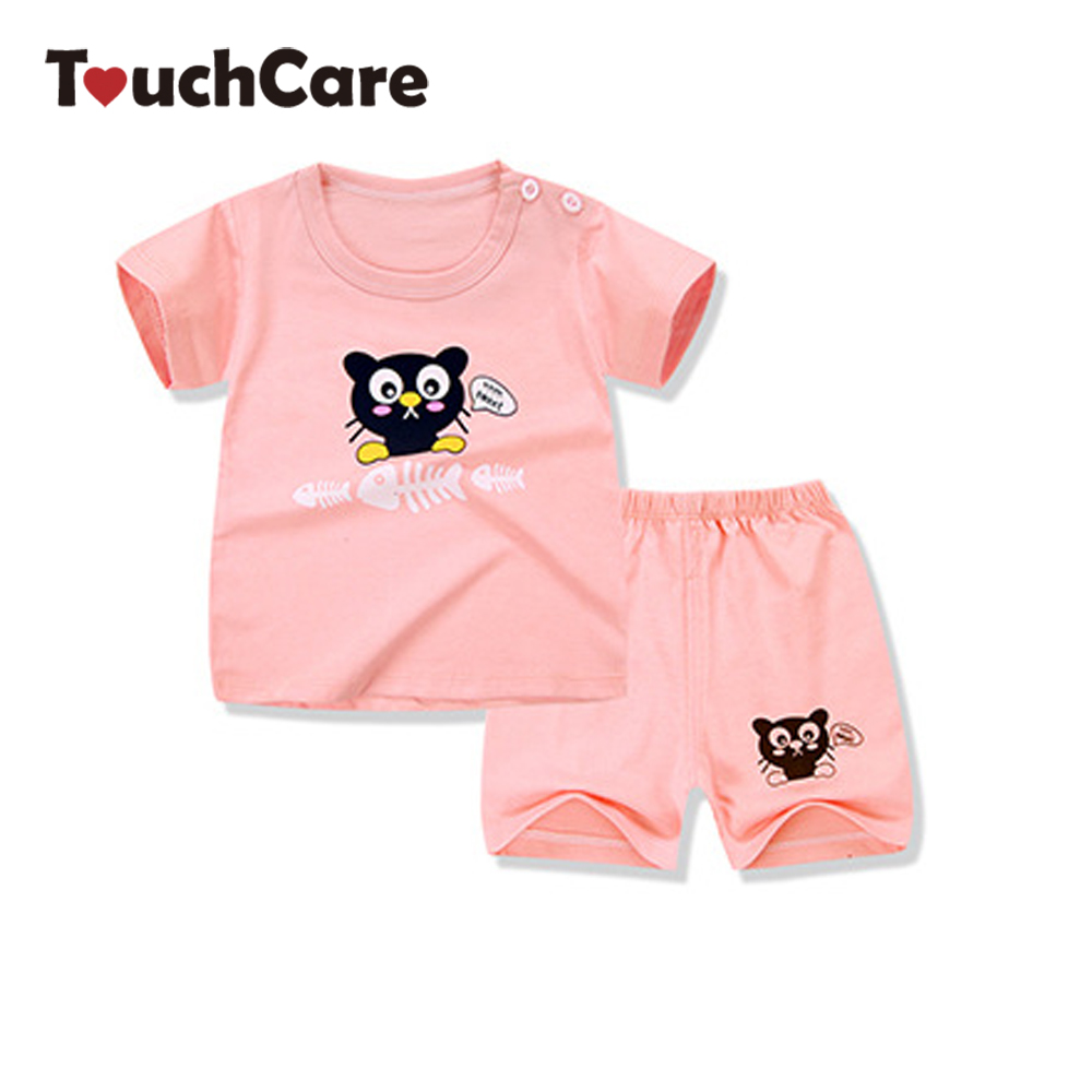 Clearance Summer Short Sleeve Cartoon Baby Clothing Set Cute Cat Bear Printed Colorful T-shirts Infant Casual Boy Girl Clothes