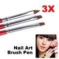 1 Unidades/3 UNIDS Suave y Pluma Profesional UV Gel Dibujo Pintura de Uñas Pinceles de Arte de Uñas de Manicura Herramientas HB88