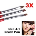 1Set/3PCS Soft and Professional Pen UV Gel Drawing Painting Nail Art Brushes Manicure Nail Tools HB88