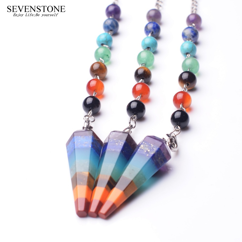 SEVENSTONE 7 Chakra Yoga Angel Necklace <font><b>Raw</b></font> <font><b>Pendant</b></font> Natural Dowsing Pendulum Necklaces Reiki Beads for Jewelry Making Women Boho image
