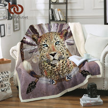 BeddingOutlet Sherpa Fleece Blanket Dreamcatcher Leopard Bed Blanket 3D Animal Tribal Soft Fluffy Blanket Feather Plush Bedding(China)