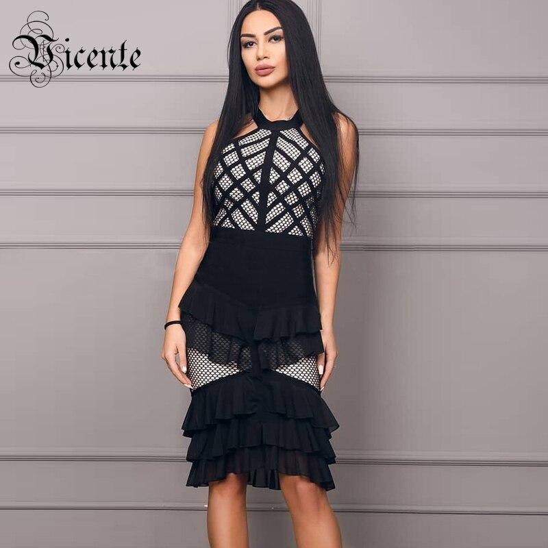 cb1b9fceb045d US $59.62 33% OFF|Vicente HOT Stylish Ruffles Dress Sexy Sleeveelss Fishnet  Design Wholesale Celebrity Party Club Wear Bandage Black Dress-in Dresses  ...