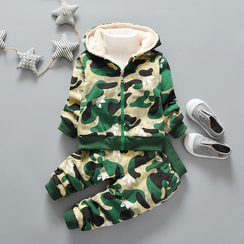 Kids winter clothing set bape camouflage jacket coats pants fur girls boys 2 pieces children brand fashion boutique outfits