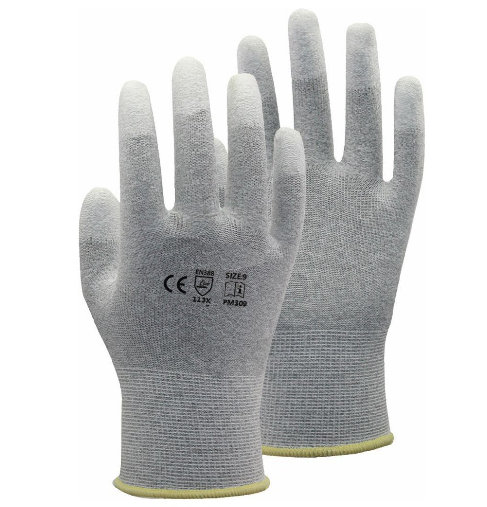 Carbon Nylon Lining ESD Safe Glove  Anti static PU Finger Top Coated Work Gloves