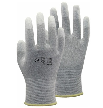 цена на Carbon Nylon Lining ESD Safe Glove  Anti static PU Finger Top Coated Work Gloves
