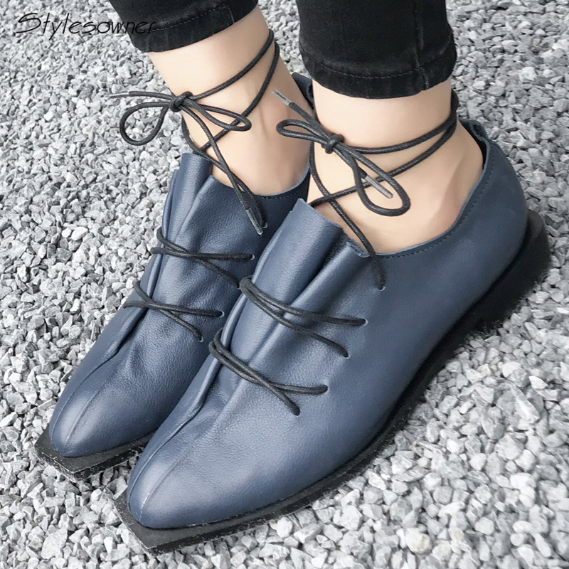 Stylesowner Pleated Lace Up Real Leather Casual Zapatos Mujer Square Toe Sexy Big Size Women Shoes Euro Design Leisure WomenShoe pink lace up design long sleeves top and pleated design skirt two piece outfits