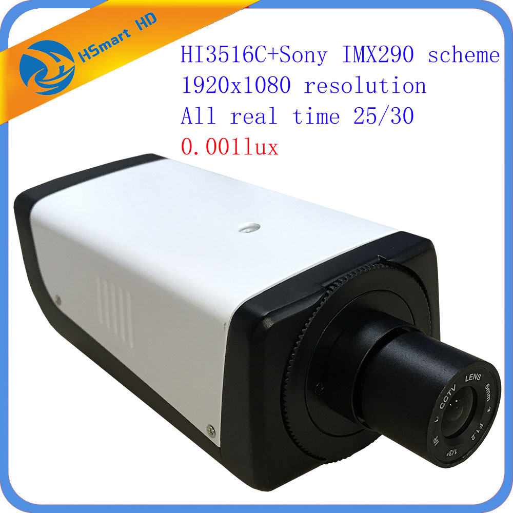 H.264 2MP HI3516C+Sony IMX290 Box Starlight IP Security Onvif H.265 Camera 1080P POE 0.001Lux Low Light for cctv nvr System ds 2cd4026fwd a english version 2mp ultra low light smart cctv ip camera poe auto back focus without lens h 264