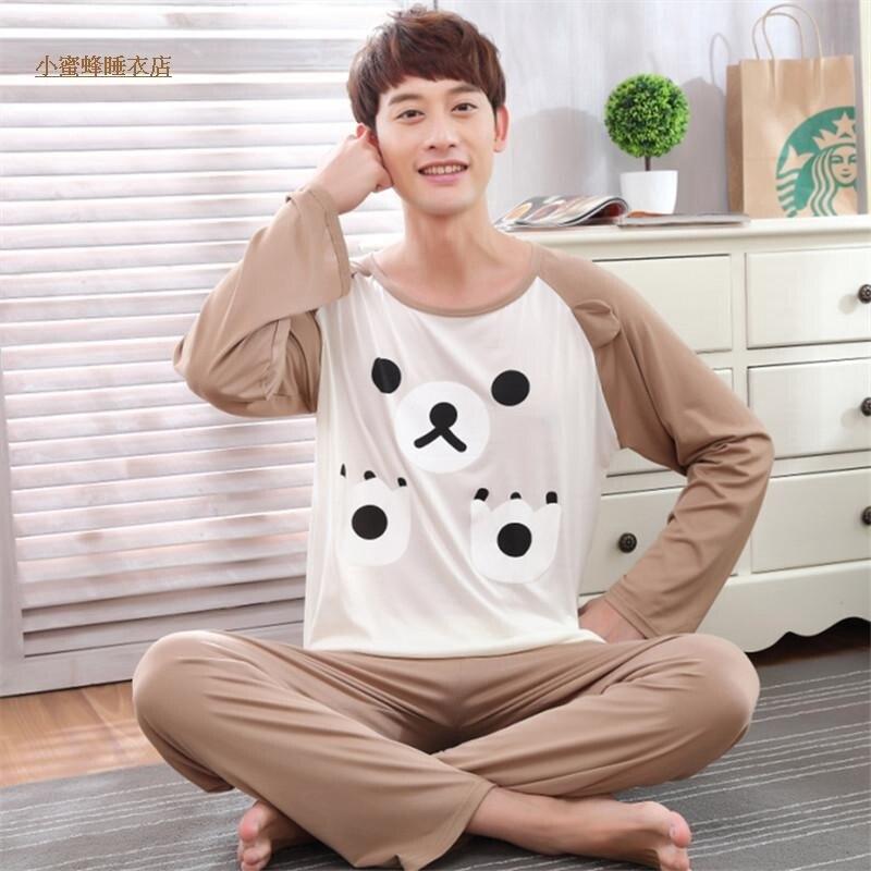 Fashion O-Neck Pajamas Men Male Long Sleeves Home Sleepwear Men Boys Cartoon Home Lounge Autumn Spring Pyjama Sets for Men
