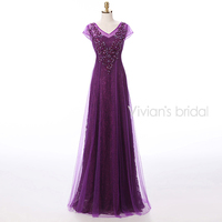 Vivian's Bridal Purple Long Evening Dresses A Line Tulle Lace Crystal Beaded Formal Evening Gowns With Sleeves