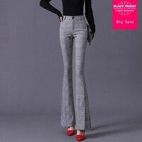 Split flared pants 2019 new Female fashion striped trousers women's elastic high was thin slim pants casual trousers wj2220