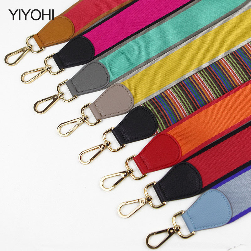 YIYOHI canvas handbag strap gold coating fashion bag stripe easy matching shoulder bag belts hot sell lady collection Be006 2016 hot style horizontal women leisure canvas stripe handbag mix single shoulder bag handbag chain wave packet
