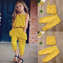 Toddler Kid Baby Girl Clothes Yellow Strap Tops+Stripe Long Pants Casual Outfits Set цена и фото