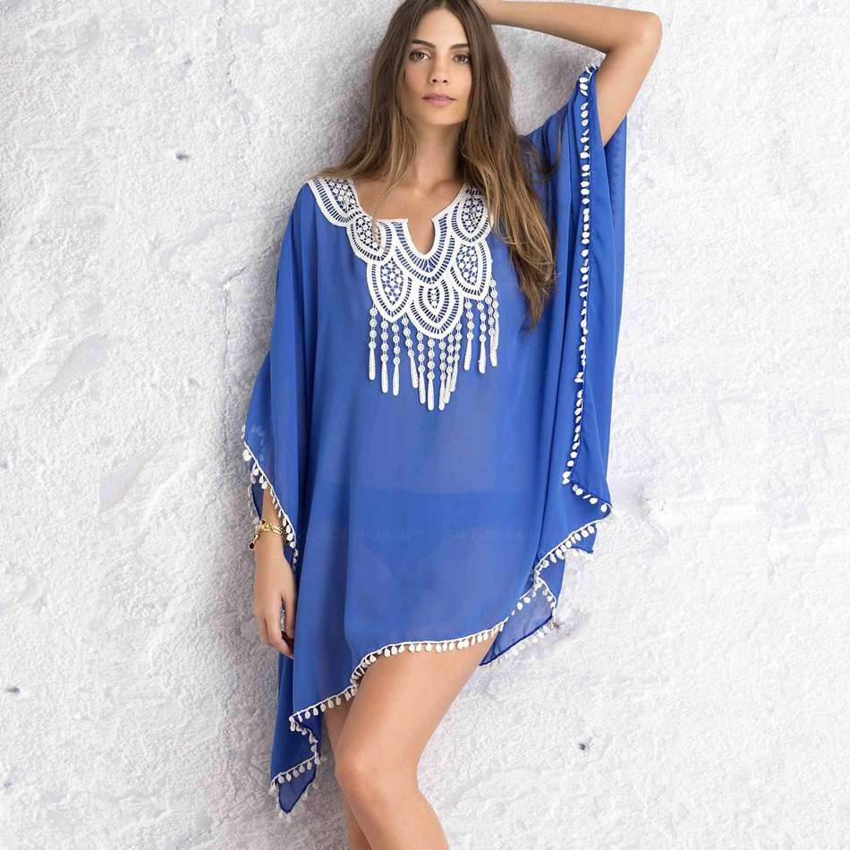 NIUMO New chiffon Cover ups Tassel bikini coat Swim Bathing  blouse Loose Hook flower Blue Beach clothes Prevent bask in Female hook ups counter attack
