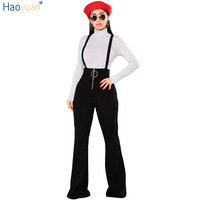 HAOYUAN Front Zip Jumpsuits Autumn Winter Backless Spaghetti Strap Sexy Bodysuit Overalls Wide Leg Pants Rompers