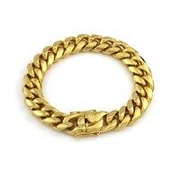 Stainless Steel Bracelets for Men Gold Color 14mm Bracelet Bangle Male Accessory Hip Hop Party Rock Jewelry Chain Bracelet VB668