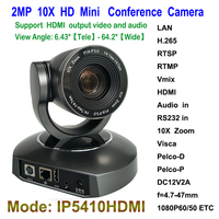 Mini Type 2MP 10X Optical Zoom Pan Tilt Broadcast Live IP Streaming Camera with HDMI Output