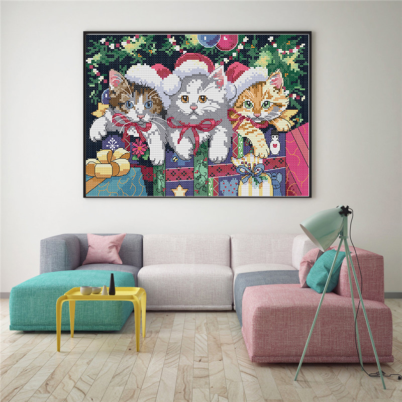 Joy Sunday Christmas Cat Counted DIY Hand Made Cross Stitch 11CT 14CT DMC Printed Cloth for Embroidery Home Decor Needlework in Package from Home Garden