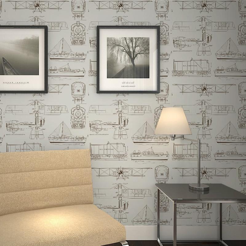Beibehang style européen simple chambre d'enfants non-tissé papier peint garçon fille chambre avion dessin animé papier peint 3d plancher - 5