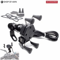 Motorcycle GPS Navigation Mobile Phone Holders Stands Mount Bracket with USB Charge 5A 2V For Universal