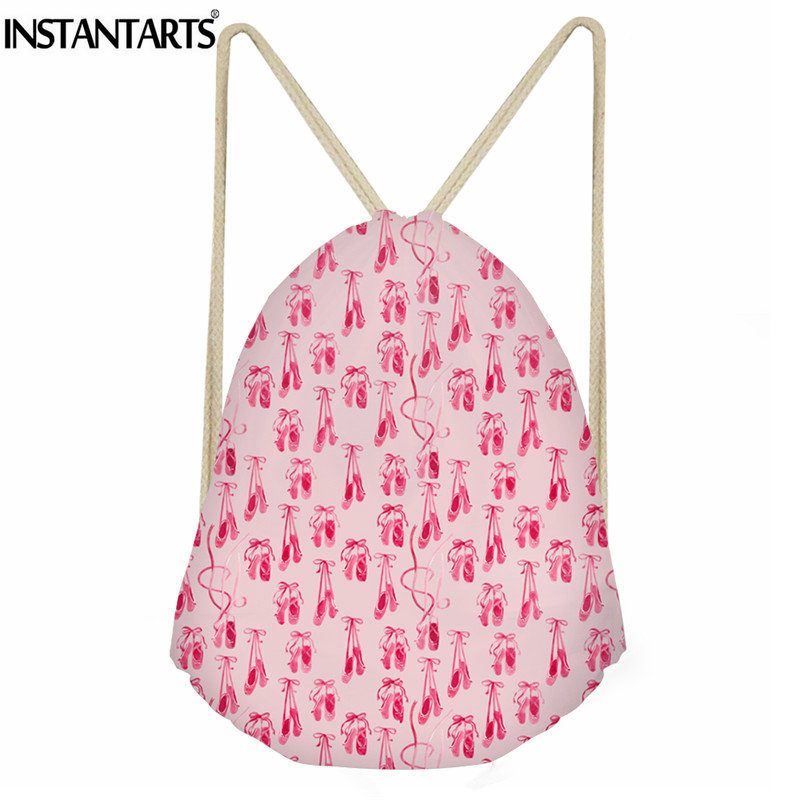 INSTANTARTS Pink Ballet Shoes Printing Women Sack Backpack Girls Small Foldable Drawstring Bag For Female Lady Travel Bagpack