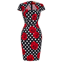 Summer Business Female Pencil Dress 2016 New Fashion Polka Dot Floral Print Women Bodycon Bandage Dresses 50s Vintage Vestidos