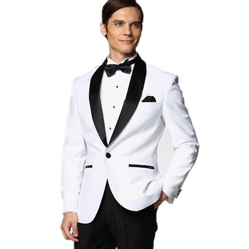 2017 White Wedding Suits For Men Black Shawl Lapel Groomsmen ...