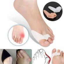 1 Pair Silicone Gel Foot Fingers Two Hole Toe Separator Thumb Valgus Protector Bunion Adjuster Hallux Valgus Guard Feet Care недорого