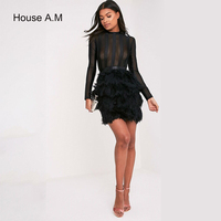 Mini Dresses Long Sleeve Mesh Patchwork See Through Ruffles Feather Bandage Dress Runway Party Wedding Ladies Pencil Dresses