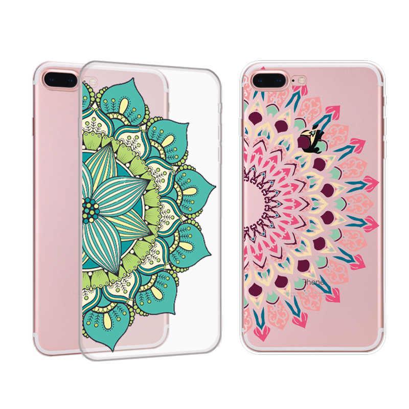 Voor IPhone X 7 Case voor Iphone7 6 6 S PLus 5 5 s 8 Plus Kleurrijke Mandala Bloem Telefoon Gevallen Luxe Cover Soft TPU Paisley Funda