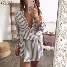 eaee1906ed 2018 Autumn ZANZEA Women Shirt Dress Sexy Deep V Neck Striped Long Tops  Lapel Neck Buttons