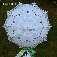 Lace Wedding Bridal Umbrella Cotton Embroidery Wood Handle Wedding Accessory