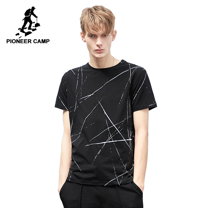 Pioneer Camp fashion pattern men   T     shirt   brand-clothing casual summer Tshirt male qulaity stretch black Tees & tops ADT802081