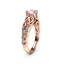 Luxury Brand Hallowing Out Zircon Rings for Women Rose Gold Color Engagement Ring Womens Fashion Jewelry